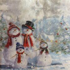 paper napkins decoupage x 2 Christmas snowmen 21cm