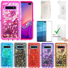 For Samsung Galaxy S10+ Plus Glitter Defender Case W/Screen Fits Otterbox Clip