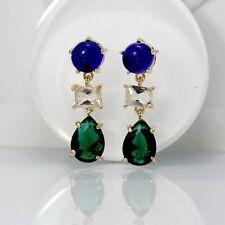 Orecchini`Orecchie CLIP ON Dorato Art Deco Goccia Blu Navy Verde Smeraldo YW8