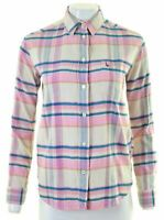 JACK WILLS Womens Flannel Shirt UK 8 Small Multicoloured Check Boyfriend GR06