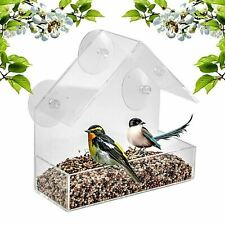 Window Bird Feeder Wild Table Hanging Suction Perspex Clear Viewing Seed Nut