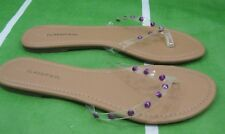 Summer Clear/Pink Spikes Slip On Flip Flop Beach Sexy Sandal Size  6