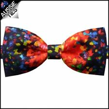 Red with Multicolour Paint Bow Tie