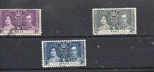 FIJI STAMPS 1937 KING GEORGE V1 CORONATION SG.246/48 FINE USED
