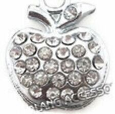 SPARKLY SILVER APPLE WITH CLEAR RHINESTONES CLIP ON CHARM FOR BRACELET - S/ALLOY