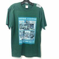 Fruit of the Loom Men's Medium Green Philadelphia Eagles Superbowl T-Shirt
