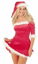 LADIES RED VELVET SEXY SANTA XMAS OUTFIT DRESS HAT WOMEN CHRISTMAS FANCY DRESS