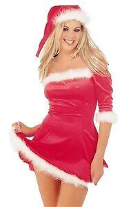 CHRISTMAS FANCY DRESS LADIES RED VELVET SEXY SANTA XMAS OUTFIT DRESS HAT WOMEN