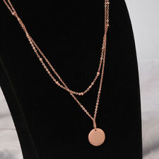 Woman 18K Rose Gold Plated Bead Ball Choker Round Pendant 2 Layer Necklace Chain