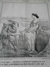 Caricature 1860 Italie Cette botte est actuellement trop petite pour moi !