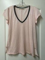 Michael Stars Supima Ringer V-Neck Tee Top One Size Pale Pink & Grey Side Slits