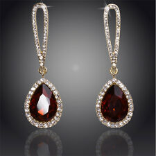 18K YELLOW GOLD PLATED  BROWN & CLEAR CZ & AUSTRIAN CRYSTAL LONG DANGLE EARRINGS