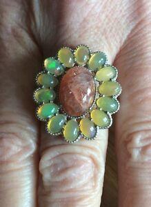 Secondhand Bargain! Shinyanga Sunstone & Ethiopian Opal Sterling Silver Ring