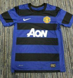 Manchester United Football Shirt Boys Medium M Blue NIKE AON 10-12 Years MUFC
