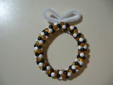 "3"" Wreath: Beaded Ornament (Pittsburgh Steelers colors) NEW handmade"