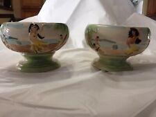 Vintage Handpainted Ceramic Pedestal Bowls Hula Girls Set 2