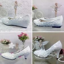 Women Bridesmaids Lace Flower Wedding Bridal Pumps High Heel Flats Shoes Sizes