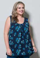 Plus Size Top Tank 1X Chiffon Navy Blue Floral MADE in USA Sheer Polyester SWAK
