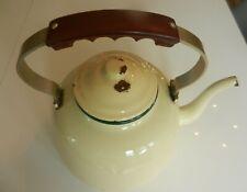 Vintage French Large Yelow Enamel 'shabby chic' Kettle, kitchen, garden planter.