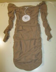 PRINCESS POLLY WOMEN'S CHARVI LONG SLEEVE MINI DRESS BEIGE SIZE 4 NEW WITH TAGS!
