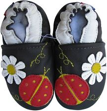 carozoo ladybug flower dark brown 2-3y soft sole leather toddler shoes slippers