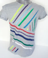 Artistic t-shirt worked and hand-painted in Italy cotton gray size M new