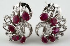 14K WHITE GOLD RUBY AND DIAMOND CLIP-ON EARRINGS BEAUTIFUL PIGEON BLOOD COLOR
