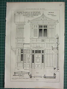 1877 DATED ARCHITECTURAL PRINT RESIDENCE AT OSTEND W. GREEN ARCHITECT ELEVATION