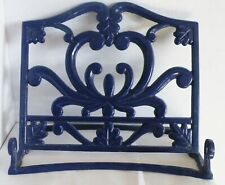 Cast Iron Enamelware Blue Easel Ornate Picture Frame Art Book Display Stand