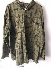 Woolrich Mens Flannel Shirt Button Down Size 2xl Green Deer Printed Long Sleeve