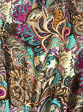 """Paisley & Floral Brown Turquoise Print Faux Silk Satin 48""""W Fabric BTY"""