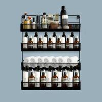 3/4/5-Tier Wall-Mounted Spice Rack Bottle Holder Home Storage Organizer Metal