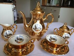 Antiques Waldershof Bavaria Germany Handarbeit 22 Karat Gold Tea Set