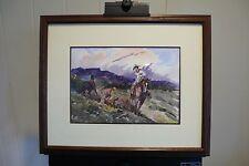"Original Western Watercolor Lorenzo Castaneda ""West Texas"" 1989 Cattle Roping"