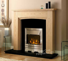 ELECTRIC OAK WOOD SURROUND BLACK MARBLE GRANITE WALL FIRE SILVER FIREPLACE SUITE