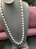 Ladies Womens's Vintage 1950's white Beaded Sarah Coventry long necklace 30""