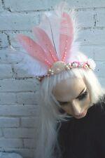 Mermaid Hair Shell Pearl Pink Flower Feather Festival Bridal Head Band Gobbolino