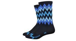 Defeet Aireator Hi Top Speak Easy Socks, S, Black/Blue