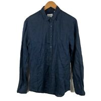 Industrie Mens Button Up Shirt Size Small Navy Blue 100% Linen Long Sleeve