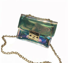 Holographic Transparent Bag Laser PVC Clutch Clear Chain CrossBody Messenger Bag