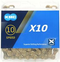 KMC X10 GOLD Ti-N Nitride 10-Speed Bike Chain 116L fits Campagnolo SRAM Shimano