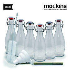 Mockins Set of 6 - 8.5 Oz. Reusable Clear Glass Bottles with Swing Top Stoppers