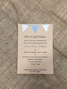 Handmade Christening Invitations for Girl or Boy (Pink or Blue)