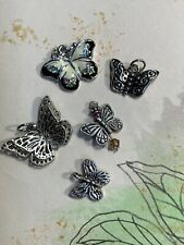 Butterfly Charm Collection Antique Silver Tone Charms Enameled Charm