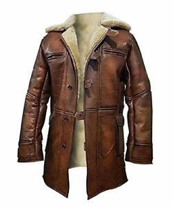 Tom Hardy Bane Dark Knight Rises Fur Shearling Coat Trench leather Jacket
