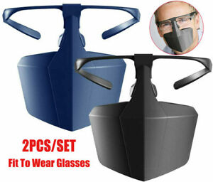 NEW 2X /Set Face Mouth Shield Protection Glasses Wearable Anti-Saliva Dust-Proof