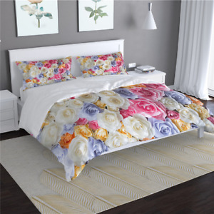 Colorful Rose Flower Bed Set 3D Printed Duvet Cover Set Queen King Single Double