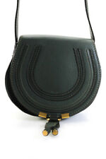 Chloe Womens Leather Mini Marcie Round Crossbody Shoulder Handbag Dark Green