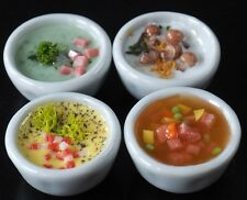 Dollhouse Miniature 4 Bowls of Vegetable Broth Spinach Carrot Mushroom SOUP Food