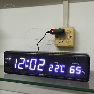 Electronic LED Digital Wall Clock With Temperature Humidity Display Clocks